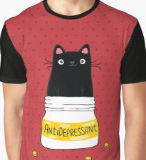 FUR ANTIDEPRESSANT . Cute black cat illustration. A gift for a pet lover. Graphic T-Shirt