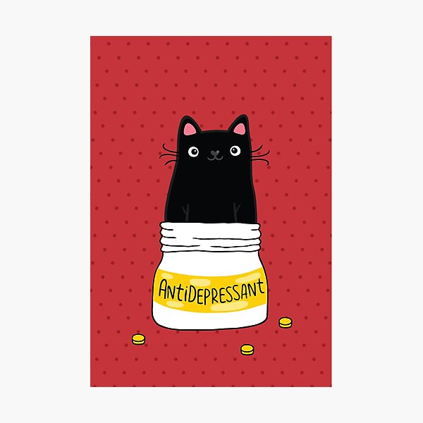 FUR ANTIDEPRESSANT . Cute black cat illustration. A gift for a pet lover. Photographic Print