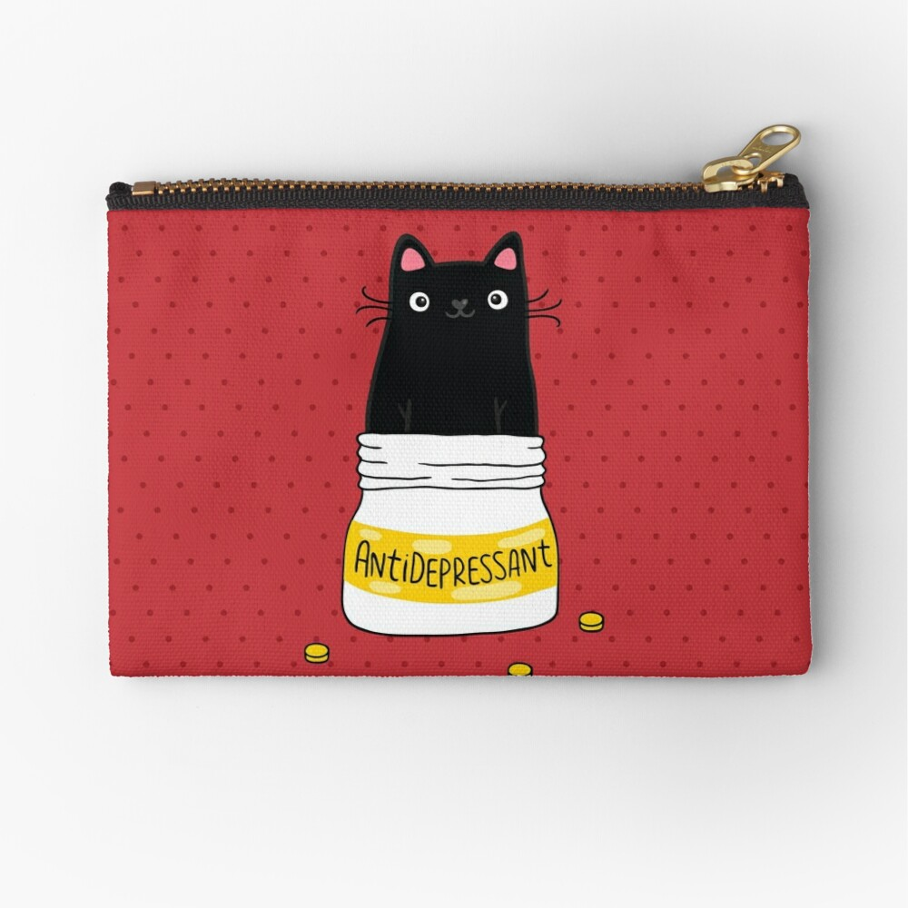 FUR ANTIDEPRESSANT . Cute black cat illustration. A gift for a pet lover. Zipper Pouch