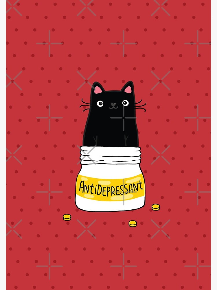 FUR ANTIDEPRESSANT . Cute black cat illustration. A gift for a pet lover. by kostolom3000