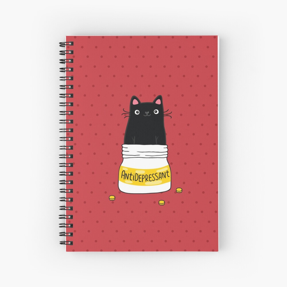 FUR ANTIDEPRESSANT . Cute black cat illustration. A gift for a pet lover. Spiral Notebook