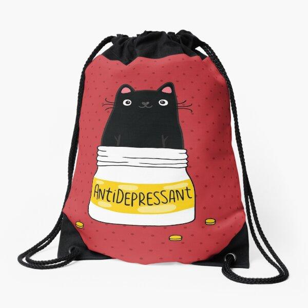 FUR ANTIDEPRESSANT . Cute black cat illustration. A gift for a pet lover. Drawstring Bag
