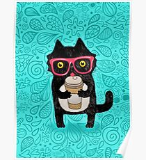 Coffee Cat and Doodles Poster