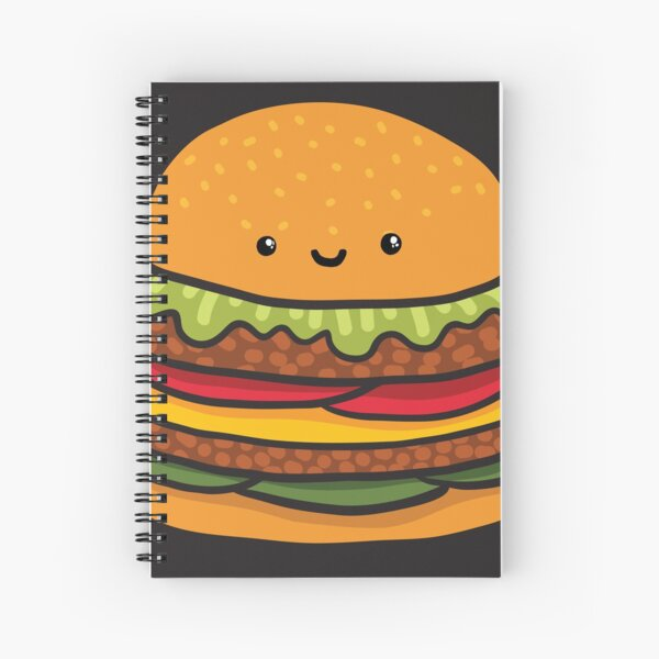 Cute burger. Hamburger fast food. Spiral Notebook