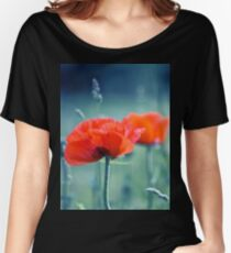red poppy and natural background Women's Relaxed Fit T-Shirt
