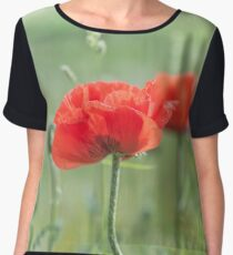 red poppy and natural background Chiffon Top