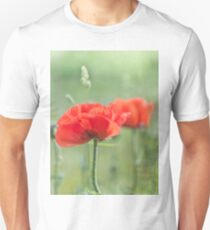 red poppy and natural background Unisex T-Shirt