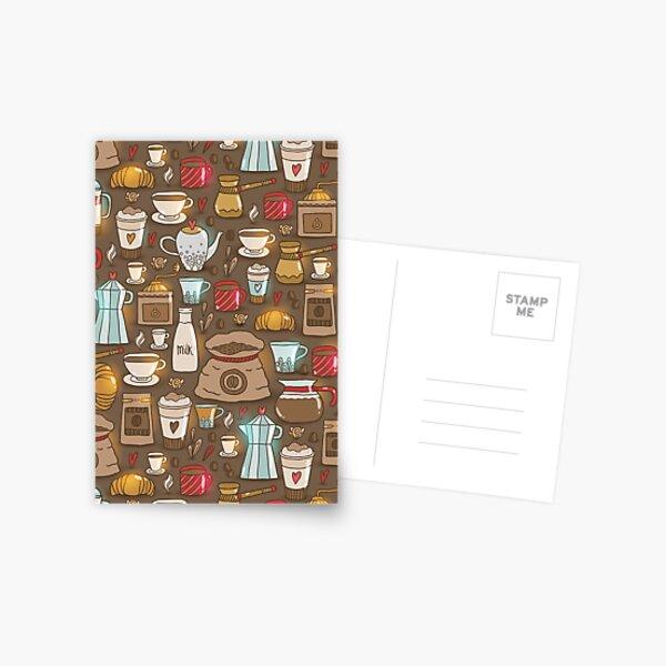 Cute coffee illustration. Caffeine theme. Cappuccino, espresso, beans. Postcard