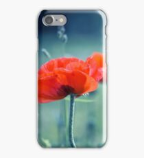 red poppy and natural background iPhone Case/Skin