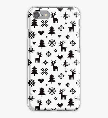 Pixel Pattern - Winter Forest - Black and White iPhone Case/Skin