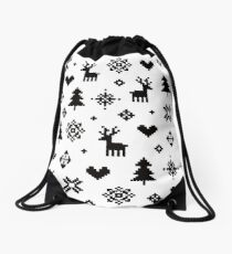 Pixel Pattern - Winter Forest - Black and White Drawstring Bag