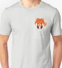 Red Panda In Pocket Funny Cute Emoji Animal T-Shirt