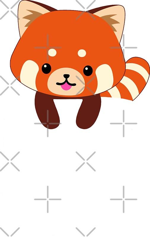 """Red Panda In Pocket Funny Cute Emoji Animal"" Stickers by ..."