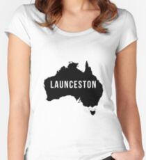 Launceston, Australia State Silhouette Women's Fitted Scoop T-Shirt
