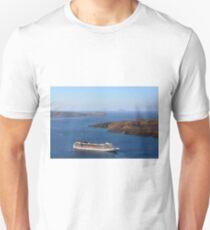 28 September 2016 Cruise ship in the Aegean Sea in Santorini, Greece  Unisex T-Shirt