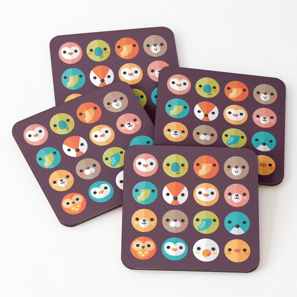 Smiley Faces Coasters (Set of 4)