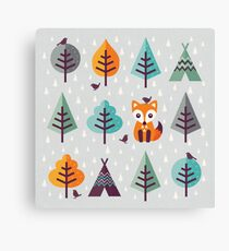 Fox in the Forest - on Gray Canvas Print