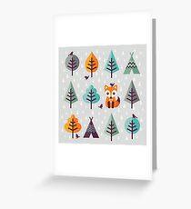 Fuchs im Wald - auf Grau Grußkarte