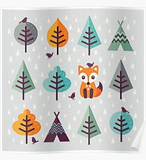 Fox in the Forest - on Gray Poster