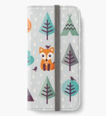 Fox in the Forest - on Gray iPhone Wallet/Case/Skin