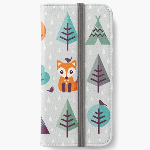 Fox in the Forest - on Gray iPhone Wallet