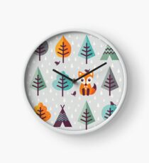 Fox in the Forest - on Gray Clock