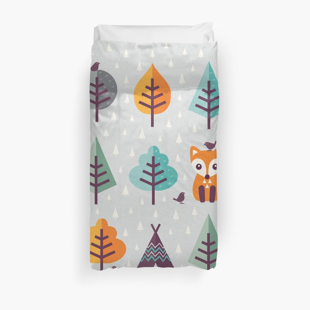 Fuchs im Wald - auf Grau Bettbezug