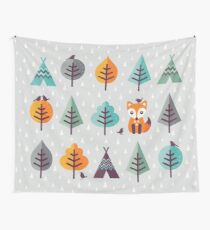 Fox in the Forest - on Gray Wall Tapestry
