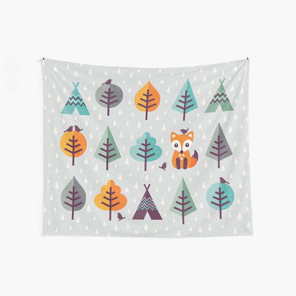 Fuchs im Wald - auf Grau Wandbehang