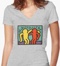 KEITH HARINGS 5 Women's Fitted V-Neck T-Shirt