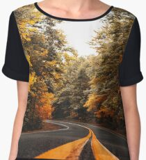 on the road in vermont Women's Chiffon Top