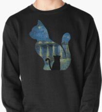 Katze, die die sternenklare Nacht über der Rhône - Van Gogh Malerei aufpasst Sweatshirt