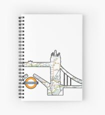 the tube, underground londons famous subway map on Londons famous land marks  Spiral Notebook