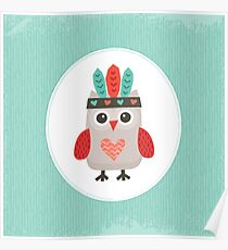 Hipster Owlet Mint Poster