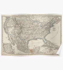 Old USA Map Poster