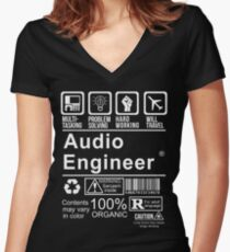 AUDIO ENGINEER - CERTIFIED JOB Women's Fitted V-Neck T-Shirt