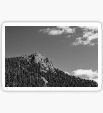 Scenic black and white view of Buffalo Rock at Rollinsville Colorado with light clouds and a waxing crescent moon rising. Photo: © James Bo Insogna Sticker