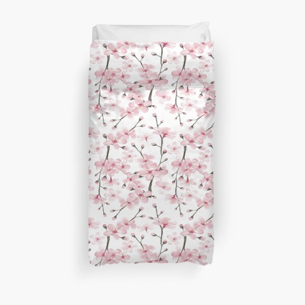pink cherry blossom watercolor Duvet Cover