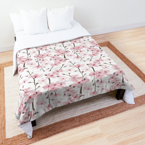 pink cherry blossom watercolor Comforter