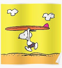 The Peanuts - Snoopy Surfing Poster
