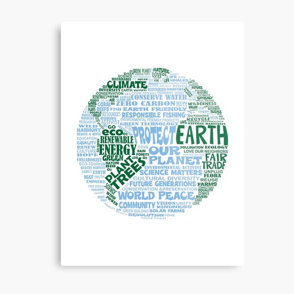 Protect Earth - Blue Green Words for Earth Metal Print
