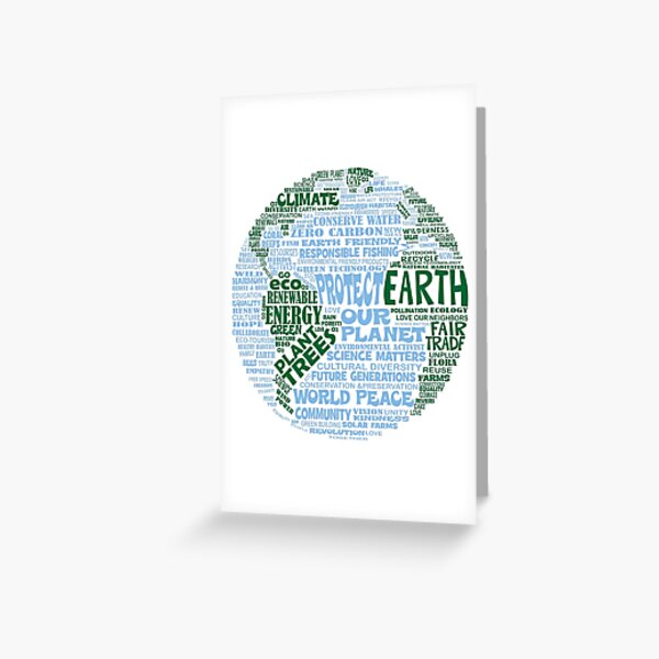Protect Earth - Blue Green Words for Earth Greeting Card