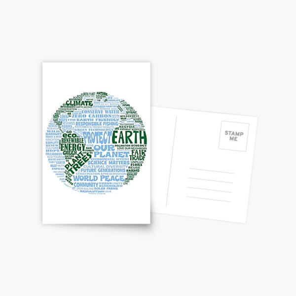 Protect Earth - Blue Green Words for Earth Postcard