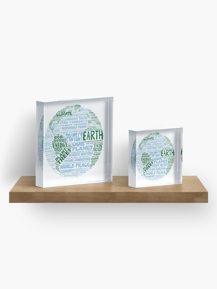 Alternate view of Protect Earth - Blue Green Words for Earth Acrylic Block