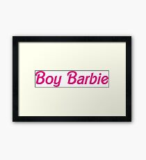 BOY BARBIE - Pink on White Framed Print