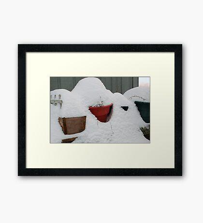 patio snow garden Framed Print