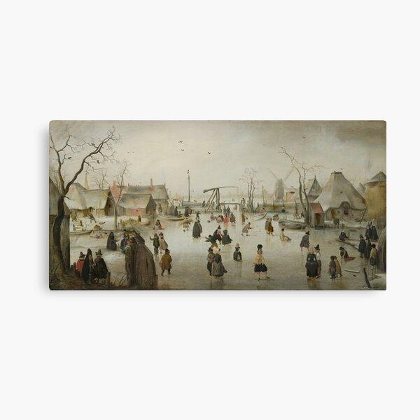 Hendrick Avercamp - Ice-Skating In A Village, 1610 Canvas Print