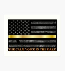 Dispatcher Gifts - Thin Gold Line - Thin Yellow Line - 911 Emergency Dispatchers Art Print