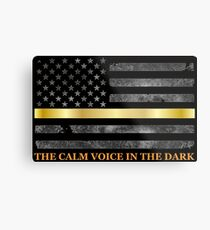Dispatcher Gifts - Thin Gold Line - Thin Yellow Line - 911 Emergency Dispatchers Metal Print