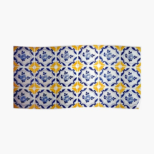 Portuguese Blue and yellows tiles  Poster